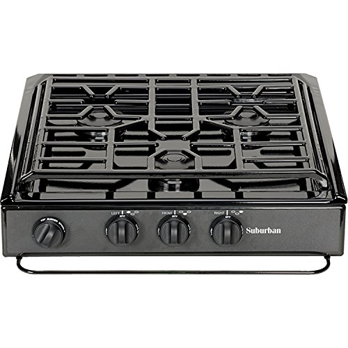 Price comparison product image SUBURBAN MFG Suburban 3200A 3 Slide-in Cooktop w / Conventional Burner-Black w / Piezo Ignition