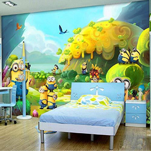 RQWBH Selbstklebende Tapete 3D Wandbilder (B) 300X (H) 210Cm Cartoon Fototapete Minions Tapete 3D Wandbilder Kinderzimmerdekoration Kinderspielplatztapete Kinderzimmerwand