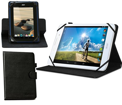 Navitech Odys Connect 8+ 7.9 Zoll Tablet-PC rotierbares bycast Leder Case/Cover in Schwarz