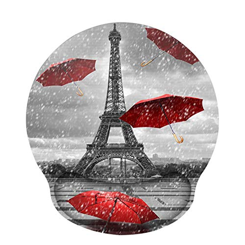 Ergonomic Mouse Pad with Wrist Rest Support, ToLuLu Gel Cute Mouse Pads Non Slip Rubber Base Mousepad, Mouse Wrist Rest Pad for Laptop Computer Home Office Working Gaming Pain Relief, Eiffel Tower