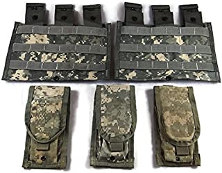 ACU Magazine Pouches, Pack of 5 US Army Surplus MOLLE Pouches, Two Triple Mag and Three Double Mag