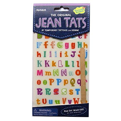 L'original Jean / Denim / Tissu Tatouages - Alphabet - par Peaceable Kingdom
