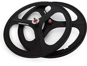 RANZHIX Clincher Wheelset Carbon Road Wheelset Fixed Gear Wheelset Clincher Type 700c 3/Tri Spoke Front&Rear Fixie Bike Wheel Set