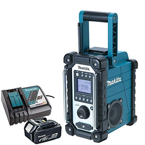 Makita DMR107 18V-10.8V LXT/CXT Job Site Radio with 1 x 5.0Ah BL1850 Battery & 1 x DC18RC Charger