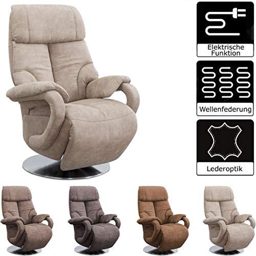 CAVADORE TV-Sessel Istanbul / Fernsehsessel mit elektrisch verstellbarer Relaxfunktion / 2 E-Motoren / 80 x 115 x 79 / Lederoptik: Beige