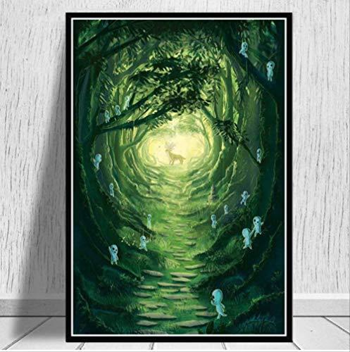 Poster Und Drucke Prinzessin Mononoke Film Japan Anime Moderne Malerei Wandkunst Leinwand Wandbilder Wohnzimmer Wohnkultur 40 * 60 cm Kein Rahmen