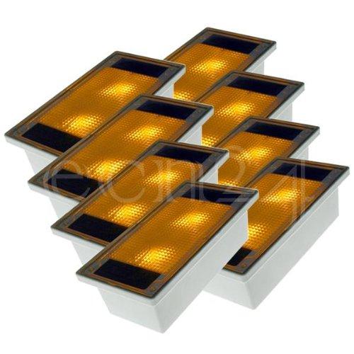 Electronet24 GmbH Solar Pflasterstein Solarstein 10x20cm trittfest gelbe LED im 8er Set