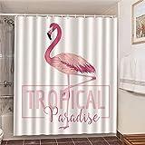 Fmiljiaty Kunstwerk Druck Flamingo Tropical Paradise Badezimmer Badewanne Dekor Duschvorhang Bad Gardinen Polyester Stoff Waschbar -180 * 180CM