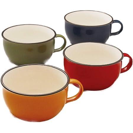 たっぷりサイズのスープカップ 4色セット 【赤・黄・緑・青】