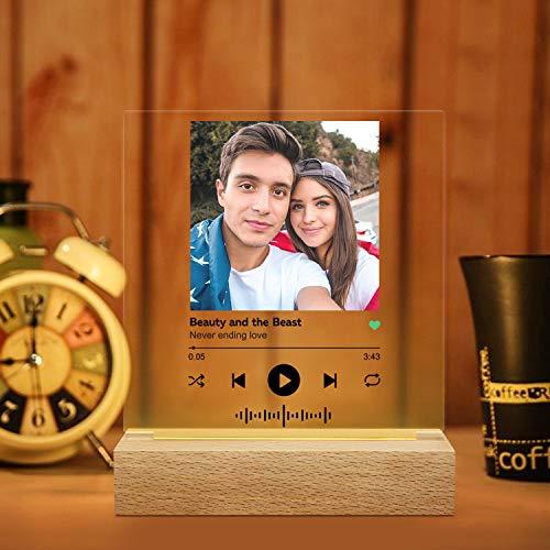Spotify Lampada da tavolo e luce notturna 3D in acrilico, con pannello trasparente per foto e nome canzone, con base, idea regalo, articolo personalizzabile
