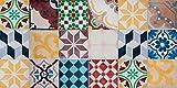 VINILIKO Vintage Tiles Alfombra de Vinilo, Multicolor, 50x100