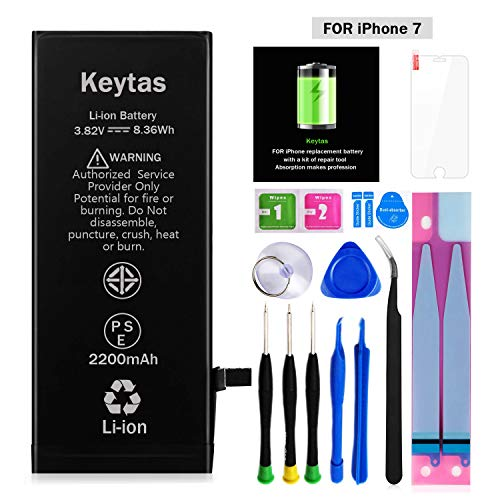 Keytas 2200mAh Replacement Battery Compatible with iPhone 7, for iPhone 7 High Capacity Replacement Battery with Complete Tools Kit and Free Screen Protector, 2 Years Warranty
