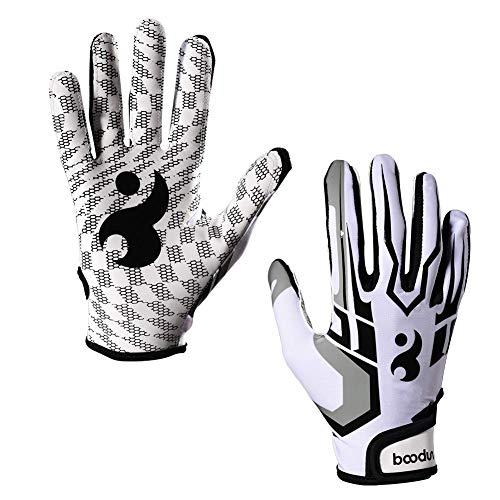 ENG Guantes de fútbol para hombre, guantes de rugby universales, guantes receptores para juego de rugby, guantes de fútbol americano, blanco L