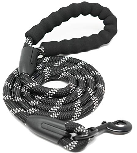 iYoShop Dog Leash Pet Training Leashes Quality Thick Nylon Soft Handle and Light Weight Pet Lead for Small Medium Large Dogs, Black, Small Medium (5 FT)