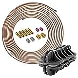 "4LIFETIMELINES 3/16"" Copper Nickel 25 ft Brake Line Replacement Kit & Handheld Tubing Straightener with 16 Fittings"