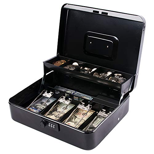 KYODOLED Large Cash Box with Combination Lock,Money Box with Cash Tray, Lock Safe Box with Key,Money Saving Organizer,11.81Lx 9.45Wx 3.54H Inches,Black XL Large