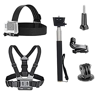VVHOOY 3 in 1 Universal Waterproof Action Camera Accessories Bundle Kit - Head Strap Mount/Chest Harness/Selfie stick Compatible with Gopro Hero 7 6 5/AKASO EK7000/APEMAN/ODRVM/Crosstour Action Camera from VVHOOY