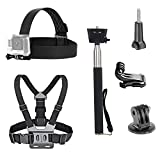 VVHOOY 3 in 1 Universal Action Camera Accessories Bundle Kit - Head Strap Mount/Chest Harness/Selfie Stick Compatible with Gopro Hero 9 8 7 6 5/AKASO EK7000/V50/Brave 7/Dragon Touch Action Camera