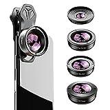 Apexel Kit de lentes 5in1 , 2x de teleobjetivo y lente superancha de 170 ° y macro de 10x y lente ancha de 110 ° y ojo de pez de 195 ° para iPhone, Samsung y la mayoría de los teléfonos inteligentes
