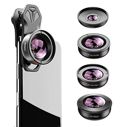 Apexel HD 5in1 Kameraobjektiv-Set, 2x Teleobjektiv+170° Super Weitwinkelobjektiv+10x Makroobjektiv+110° Weitwinkelobjektiv+195 ° Fischauge für iPhone X/XS Samsung Huawei und die meisten Smartphones
