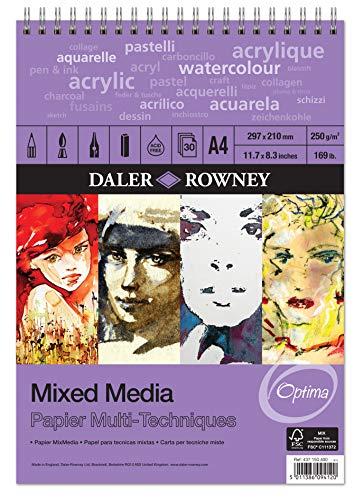 Álbum Espiral ideal para Técnicas Mixtas DALER ROWNEY Dr.Optima, de Formato 29,7 x 42 cm, con 30 Hojas de Papel de 250 g/m2 de Grano Fino