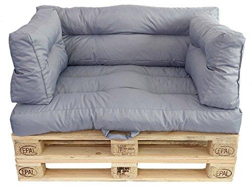 Prosanvita Palettenkissen grau, Moderne Paletten-Couchkissen für den Innen- und Außenbereich, abwaschbare Kissen, Sitzkissen ca. 120 x 80 cm