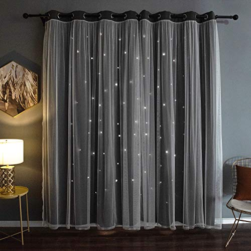 Kinryb Catarina Layered Solid Blackout and Sheer Window Curtain Panel Pair with Grommet Top, 52x95 inchs, Grey, 2 Count