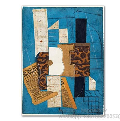 Geige und Gitarre Plakate und Drucke Cafe Bar Wandkunst Leinwand Modulare Malerei Picasso Kubismus Wandbilder für die Inneneinrichtung 50x70cm ohne Rahmen