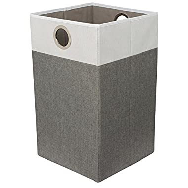 BirdRock Home Folding Cloth Laundry Hamper with Handles | Dirty Clothes Sorter | Easy Storage | Collapsible | Grey and White