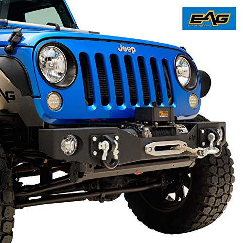EAG Front Stubby Bumper with Fog Light Hole and D-Ring Fit for 07-18 Wrangler JK