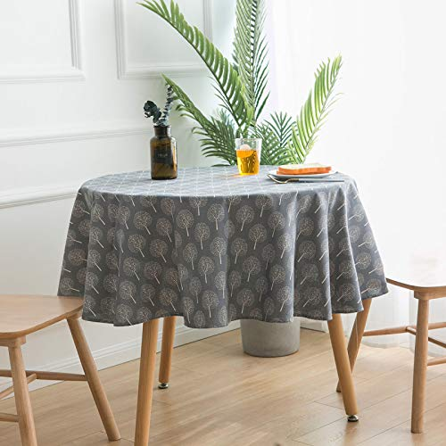 WSJIABIN Home Decoration Tablecloth Geometric Printing Round Table Table Cloth Cotton and Linen Modern Simple Tablecloth Cover Towel Round