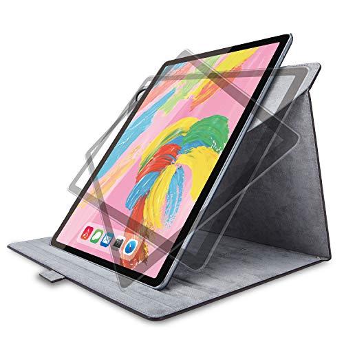 エレコム iPad Pro 12.9 (2018) ケース フラップカバー ソフトレザー 360度回転 ブラック TB-A18L360BK