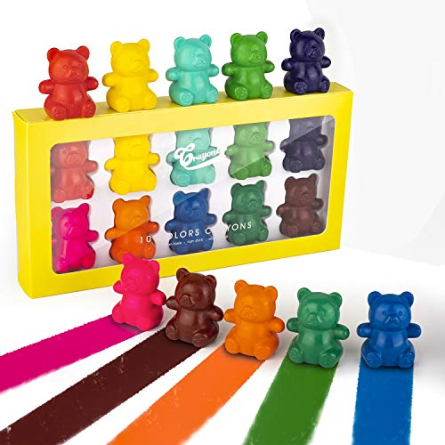 Hzran Crayons for Toddlers, Finger Puppets Palm Grip Set 10 Colors Non Toxic Finger Crayons for Toddlers, Non Breakable Safety Crayons for Toddlers, Stackable Toys for Kids(Bear)