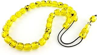 Greek Kompoloi 33 Beads 10 mm Yellow Koboloi Worry Bead Handmade Round Amber