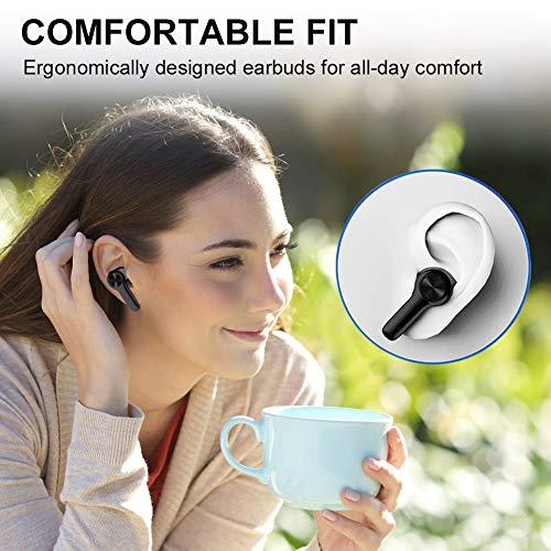 Auriculares Inalámbricos Bluetooth 5.0 Sonido Estéreo, In-Ear Auriculares con Caja de Carga Portátil, Mini Auriculares Deportivos Bluetooth con Micrófonos, Alta Compatibilidad, Control Tactil miniatura