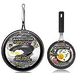 GRANITESTONE 2686 10' Frying Pan Skillet with 5.5' Eggpan, Non-stick, No-warp, Mineral-enforced, PFOA-Free, Dishwasher-safe As Seen On TV