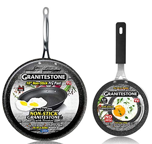 GRANITESTONE 2686 10' Frying Pan Skillet with 5.5' Eggpan, Non-stick, No-warp, Mineral-enforced, PFOA-Free, Dishwasher-safe As Seen On TV