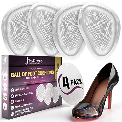 Premium High Heel Inserts [Extra Soft Forefoot Cushioning] Ball of Foot Cushions for Women and Men, Reusable Metatarsal Pads, Prevent Blisters and Calluses, 4 Invisible Pads, Fit Any Shoe