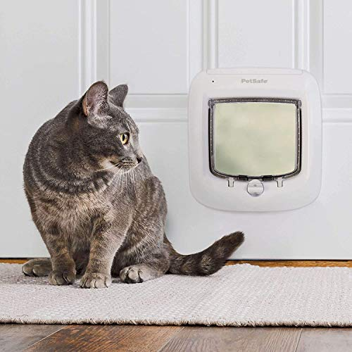 PetSafe Microchip Cat Door - RFID Chip ID Access Programmable Up to 40 Pets - Interior or Exterior Door with Energy-Efficient Flap - 4-Way Locking Design - Freedom and Privacy for Your Pet