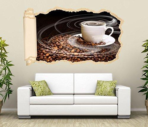3D Wandtattoo Tapete Kaffee Tasse Coffee Bohnen Küche Wand Aufkleber Wanddurchbruch Deko Wandbild Wandsticker 11N1069, Wandbild Größe F:ca. 97cmx57cm