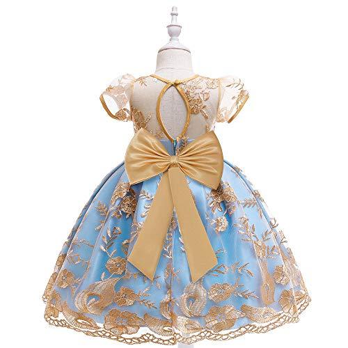Vestidos Largos de Tul para Fiesta de niña,Vestido para niños Vestido de Princesa de Boda, Vestido de niña de Bordado de Seda de Oro-champán_150 cm,Vestido de Encaje de niña de Las Flores