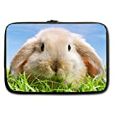 Mayers Cute Easter Bunny in The Green Grass Blue Sky Laptop Sleeve 15.6 Inch 2015 100% Water Resistant Neoprene Double-Sided, No Straps