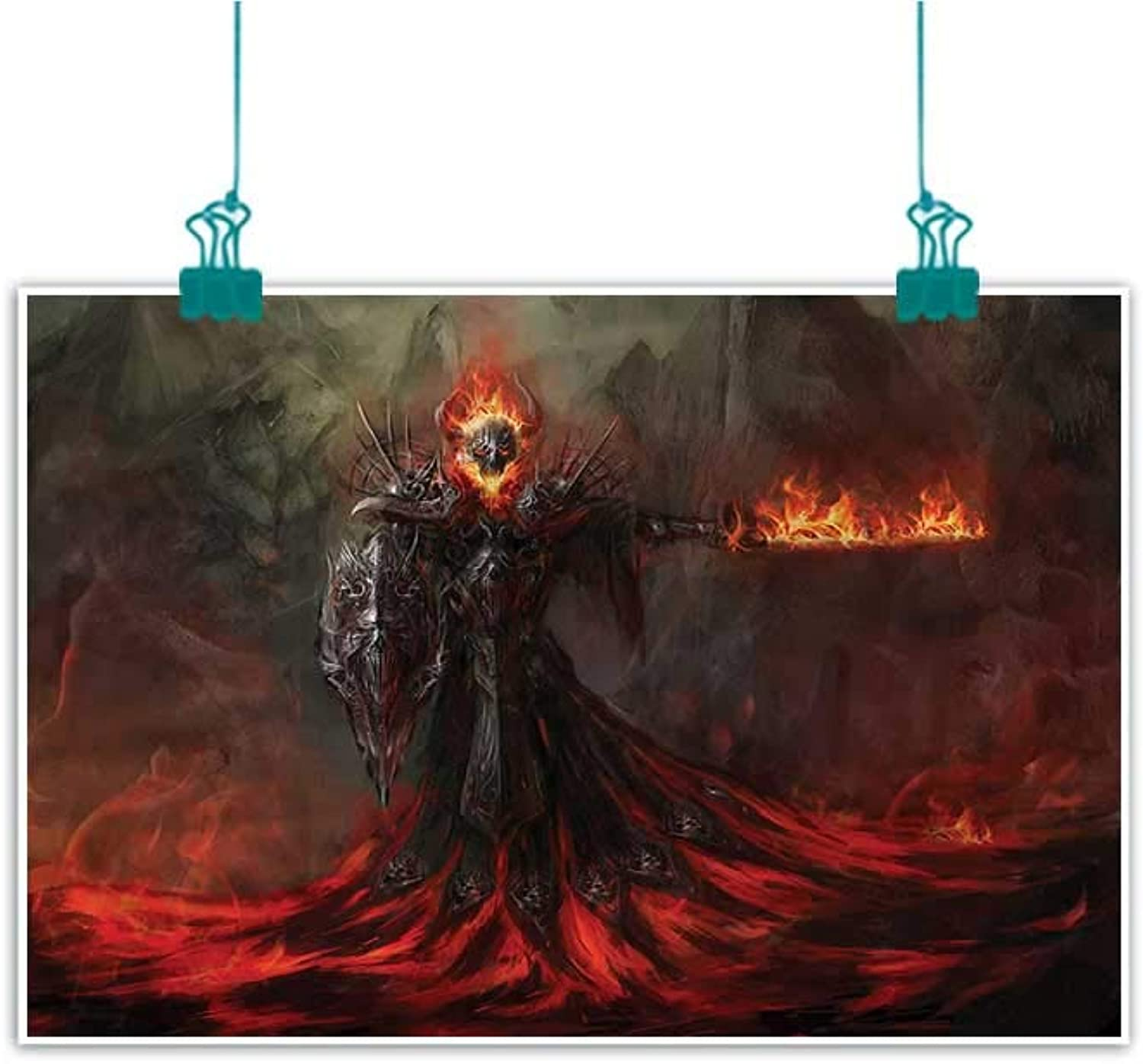 Unpremoon Fantasy World,Bedroom Wall Decor W 48  x L 32  Scary Magma Creature for Bedroom Office Homes Decorations