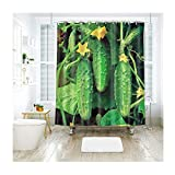 Daesar Anti-Schimmel Duschvorhang 120x180 Gemüse Gurke 3D Vintage Duschvorhang aus Polyester-Stoff
