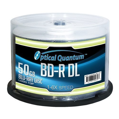 Optical Quantum 50 GB 6X Blu-ray Double Layer Recordable Disc BD-R DL Logo Top, 50-Disc Spindle (MPN: OQBDRDL06LT-50)