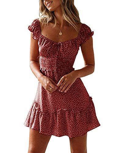 Imily Bela Damen Sommerkleid Elegant Volant Kleid Knielang Polka Dot Blumen Rüschensaum Spaghetti Träger High Waist