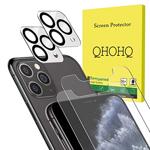 [4 Pack] QHOHQ 2 Pack Tempered Glass Screen Protector +2 Pack Tempered Glass Camera Lens Protector for Apple iPhone 11 Pro(5.8