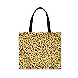 Leopardo Marrón Naranja Arte Bolsa de Mano de Compra Reutilizable Portátil Bolsa al Hombro ecológica para viajes Mujeres Niñas
