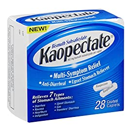 Kaopectate Multi-Symptom Anti-Diarrheal& Upset Stomach Reliever, 28 Caplets, White 15 CALM UPSET STOMACH: For diarrhea, stomach upset, nausea, indigestion, gas & more you can trust the calm, soothing relief that starts when you take your first dose of Kaopectate Multi-Symptom Relief. EASY, ON-THE-GO RELIEF: Diarrhea & upset stomach can strike anywhere, so get the Kaopectate that goes everywhere! Our convenient caplets offer quick, multi-symptom relief that you can take anywhere. SEVEN SYMPTOM RELIEF: Kaopectate liquids & caplets offer quick, temporary relief from seven types of stomach discomfort, including traveler's diarrhea, heartburn, nausea, gas, & indigestion.