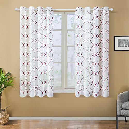 Top Finel White Short Sheer Curtains 45 Inch Length Burgundy Embroidered Diamond Grommet Window Curtains for Living Room Bedroom, 2 Panels